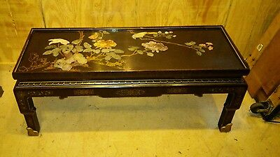Antique Chinese Style Coffee Table w/ Hardstone Inlay Asian Oriental
