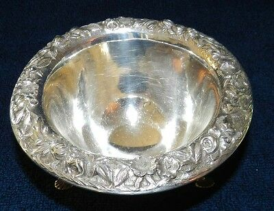 1896-1914 S.Kirk & Son Co Sterling Silver 3 footed Bowl in the Repousse Pattern