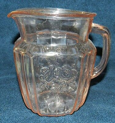 "Anchor Hocking Pink Depression Glass Mayfair/Open Rose 37 oz Pitcher - 6"" tall"