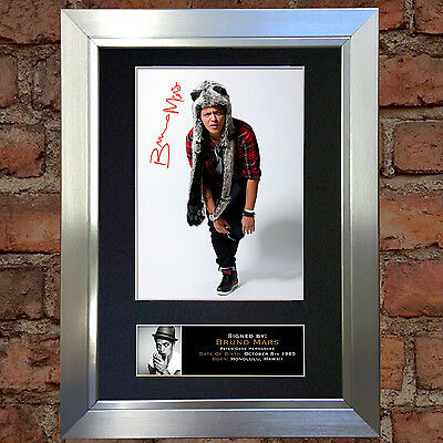BRUNO MARS No1 Signed Autograph Mounted Photo Repro A4 Quality Quality Print 93