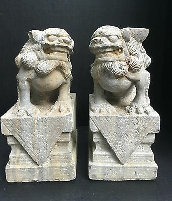 Rare 19th C. Chinese Carved Stone Foo Lions Pair