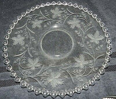 "Imperial Candlewick Crystal 13"" Engraved Platter - Leaf and Vines"
