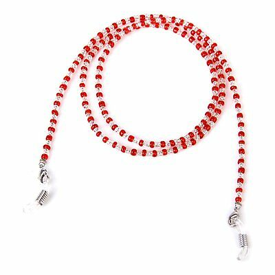 Decorative Spectacles Bead Chain Holder Neck 60CM---Red and Clear DT