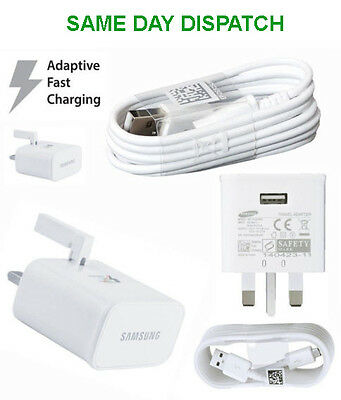 Wall Mains Adaptive Fast Charger Data Cable 4 Original Samsung Galaxy S6 S7 Note
