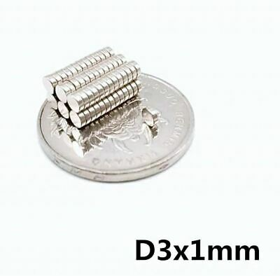 50 Pieces  -  3x1mm Disc RARE Earth Neodymium Strong Magnets N35