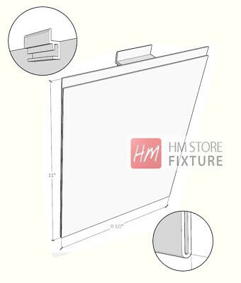 Acrylic Marketing Sign Holder for Slatwall&Gridwall 8.5 X 11(H) - 3 PCS (007CL)