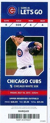 2015 Cubs vs White Sox Ticket: Jake Petricka win