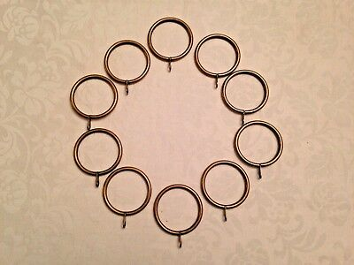 10 x Large Antique Brass Iron Metal Curtain Rings for 25mm to 40mm Pole Rod