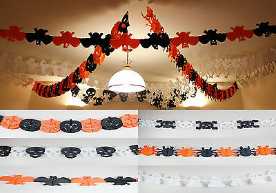 3m Halloween Hanging Paper Ceiling Decorations Bat Ghost Skull Spider