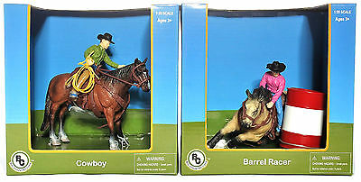Big Country Toys Farm Animals 1:20 Figures Cowboy #407 & Barrel Racer #409