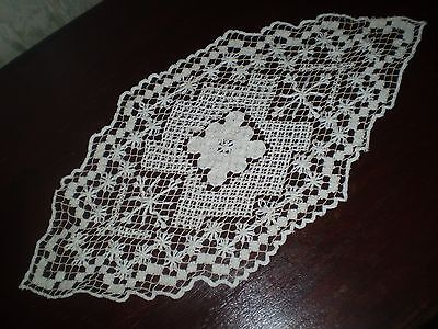:Vintage Hand-Knitted Cotton Crochet Lace filet