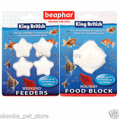King British Holiday Food Block or Weekend Fish Feeder coldwater & tropical Tank