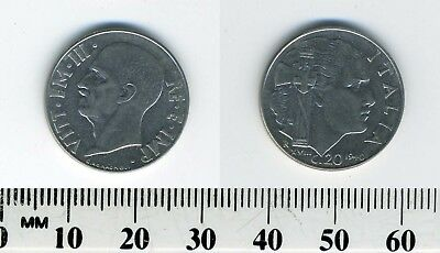 Italy 1940 - 20 Centesimi Stainless Steel Coin - WWII - Reeded & magnetic