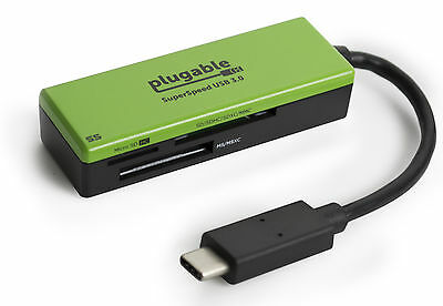 Plugable USB TYPE-C 3.0 Flash Memory Card Reader Compatible with Mac books