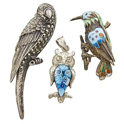 Vintage Sterling Silver, Glass & Enamel 3 Bird Brooches - Parrot, Owl, Bird,