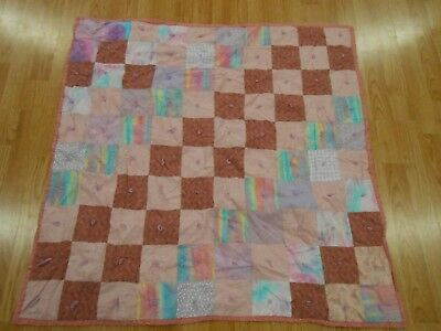 Cute Vintage Antique PINK PURPLE BLUE CHECKERED Baby Girl Quilt