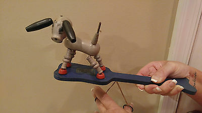 1950's Fisher Price Wood Dog Paddle Puppet With Strings