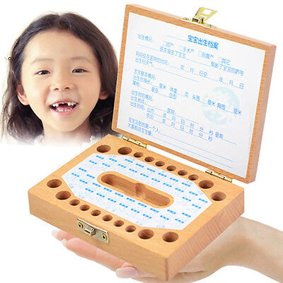 1Pc Personalised Wooden Baby Tooth Fairy Box Deciduous Box Save Box Gift
