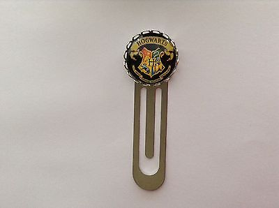 Harry Potter Hogwarts Emblem Design Silver Tone Clip Bookmark Glass Cabochon