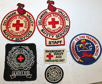 6 Vintage Pennsylvania American Red Cross Ambulance Safety & Fireman Patches