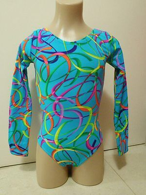 NEW AQUA LYCRA RAINBOW RIBBONS LONG SLEEVE CM 50cm Sz 8 Gymnastics Leotard