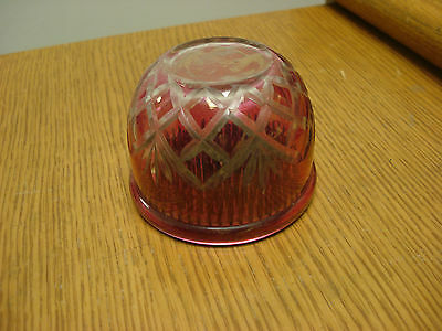 "Victorian Cranberry Glass Cut to Clear 3"" SPIKED FROG & COVER For Your Vase"