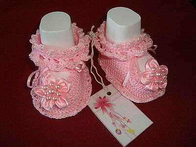 NEWBORN BABY GIRLS SHOES BOOTIES SANDALS HANDMADE CROCHET PINK GIFT IDEA 0-3m