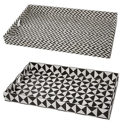 Set of 2 trays with stylish black and ivory patterns. Serving tray