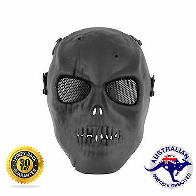 Airsoft Paintball Tactical Full Face Protection Skull Mask Skeleton Army BLACK