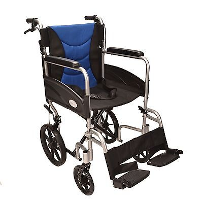 Ultra Lightweight aluminium folding transit wheelchair ECTR07 with handbrakes