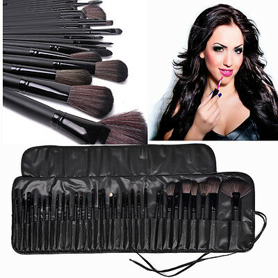 32tlg Kosmetik Echthaare Professionelle Makeup Brush Schminkpinsel Pinsel Set