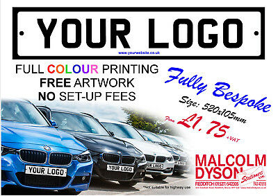 Personalised Number Plates / Registration Plates Cover-Ups - 4mm Correx (SAMPLE)