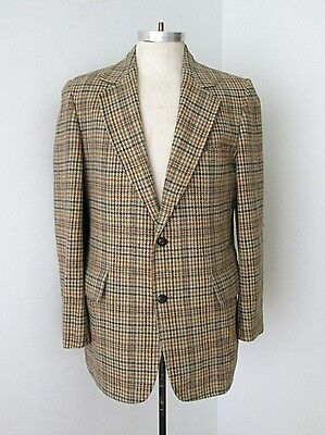 Vtg 60s Gray Brown Blue Classic Houndstooth Tweed Blazer Sportcoat Jacket 42L