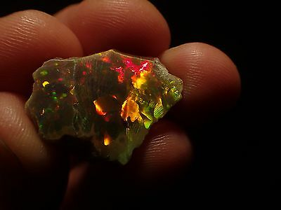12.5 carat Ethiopian Black Opal rough Very Good Play of Color 4 of 5 Color!