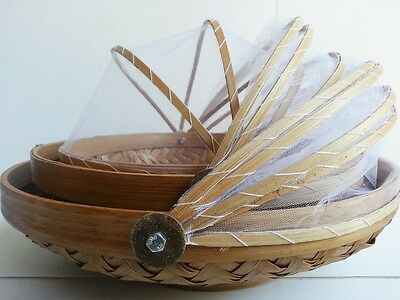 Set 3 Woven Balinese Bamboo Baskets Trays With Food Covers Bbq Entertaining Bali