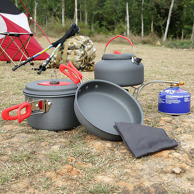 2-3 Person Cooking Pot Camping Cookware  Outdoor Pots Frying Pan Kettle Set SM