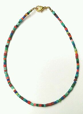 """Afghan Natural Multi Stone Colorful Tiny Seed Bead Anklet 9.25"""" Jewelry Gemstone"""