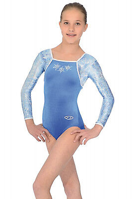 The Zone Angel Frozen Style Jewel Long Sleeve Velour Gymnastics Leotard Blue