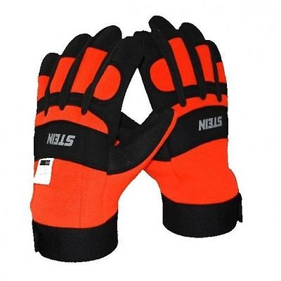 STEIN Protective Gloves Size 10, Orange And Black, Chainsaw Hand Protection