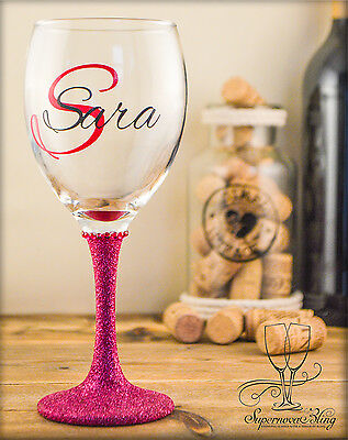 Personalised Glitter wine glass with initial and name gift birthday party