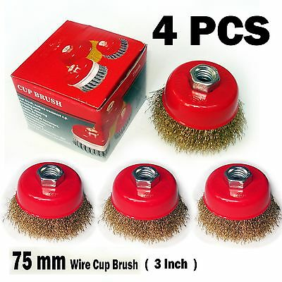 "4pcs of 3"" x 5/8"" Arbor FINE Crimped Wire Cup Wheel Brush - For Angle Grinders"