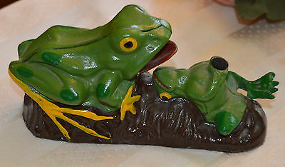 Antique Vintage Two Frogs On a Log Cast Iron Mechanical Coin Piggy Bank