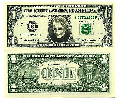 LE JOKER VRAI BILLET DOLLAR US ! Heath Ledger Super Heros Batman the Dark Knight
