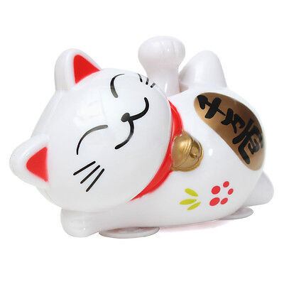 Solar Powered 11cm Maneki Neko Lucky Waving Beckoning Fortune Cat Car White DT