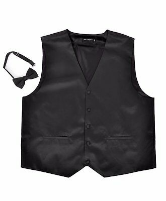 Solid Satin Vest with Matching Banded Bowtie (PSV3501SM-Black)
