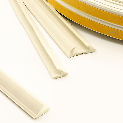 V white Foam Draught Self Adhesive Window Door Excluder Seal Strip Rubber 1-100m