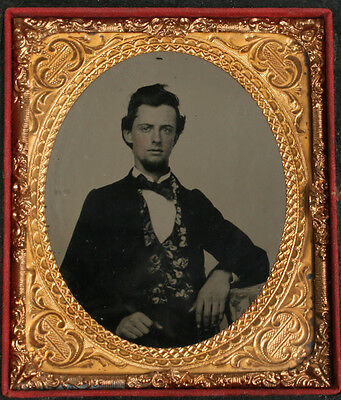 Ambrotype Man Crisp, Tinted. 1/6Th Plate, Full Case.