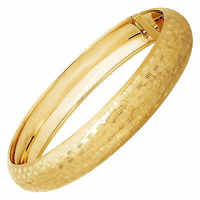 Just Gold Checkerboard Bangle Bracelet in 14K Gold