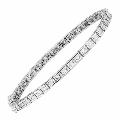 7/8 ct Created White Sapphire Tennis Bracelet in Sterling Silver