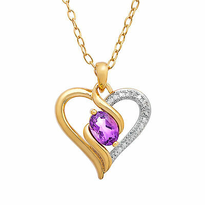 1/2 ct Natural Amethyst Heart Pendant with Diamond in 18K Gold-Plated Brass